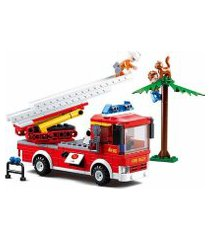 blocos de montar caminhão de bombeiro com escada 269 peças indicados para +6 anos material plástico colorido multikids - br822 br822