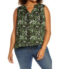 caslon(r) gathered a-line tank, size 1x in green- black camo floral at nordstrom