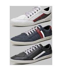 kit 3 pares de sapatênis casual dexshoes azul/cinza/preto