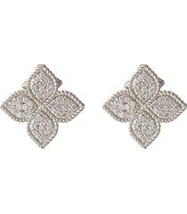 'princess flower' diamond 18k white gold earrings