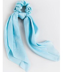 krista long satin pony scarf - light blue