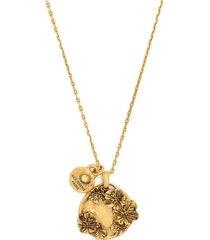 goossens talisman poppy flower medallion necklace - gold