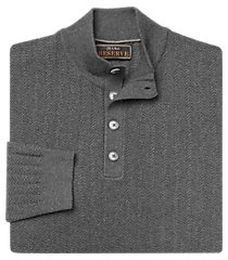 reserve collection cotton & silk herringbone mock neck men's sweater - big & tall clearance
