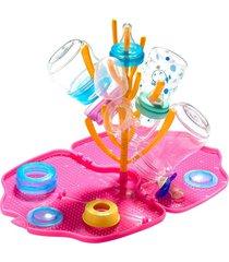 escorredor de mamadeiras tinok - pink e laranja