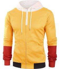 color block zip up front pocket hoodie