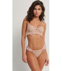 na-kd lingerie v-string med tunna rosettband - pink