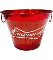balde de gelo alumínio temático cerveja vermelho 27x27x20cm