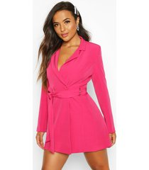 petite getailleerde blazer jurk met riem met d-ring, warm roze