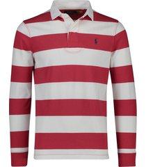 ralph lauren big & tall rugby trui rood grijs