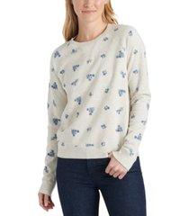 lucky brand embroidered cotton sweatshirt