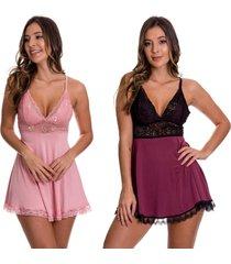 2 camisolas em microfibra estilo sedutor 1 rose e 1 vinho com preta - dr167-v89 - multicolorido - feminino - dafiti