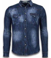 overhemd lange mouw enos denim shirt - spijker slim fit - vintage washed -