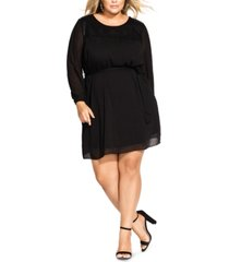 city chic trendy plus size dobby fit & flare dress