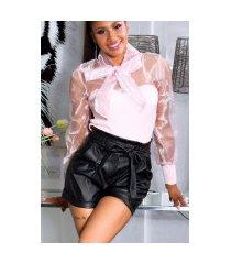 sexy paperbag lederlook-shorts zwart