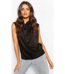 satijnen geplooide blouse met waterval hals, zwart