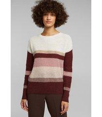 sweater rayado con lana y alpaca rosa claro esprit