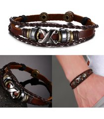 brown genuine leather couple bracelet bangle stainless steel retro anchor charm