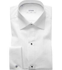 eton black tie shirt wit plissé slim fit