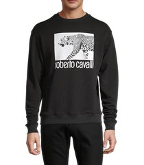 roberto cavalli men's cheetah logo graphic sweatshirt - black - size xl