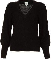 v-hals trui met ballonmouwen broame  zwart