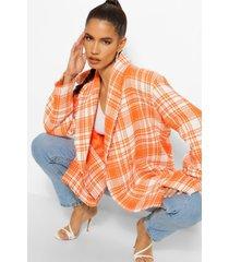 geruite bouclé boxy blazer met dubbele knopen, oranje
