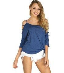 blue cold shoulder 3/4 longitud camiseta de manga con detalle de tiras