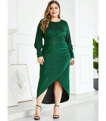 yoins plus tamaño verde metálico brillo fiesta vestido