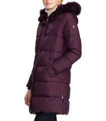 women's lauren ralph lauren faux fur trim quilted hooded down & feather parka, size x-small - burgundy