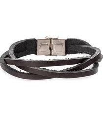 eye candy la men's luke titanium & faux leather strand bracelet
