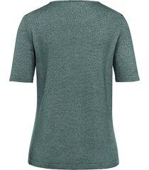 trui van zijde en kasjmier met korte mouwen van peter hahn groen