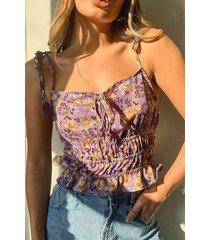 geweven bloemenprint hemdje, lilac