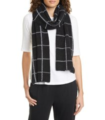 women's eileen fisher windowpane plaid organic cotton scarf
