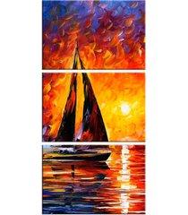 conjunto de telas decorativa pintura barco a vela médio love decor