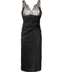 unravel project lace wraparound fitted dress - black