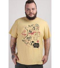 camiseta masculina plus size mapa escandinávia manga curta gola careca mostarda
