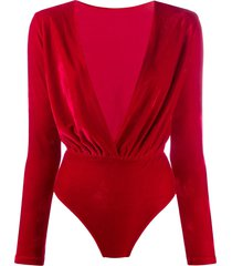 alchemy plunging v-neck bodysuit - red