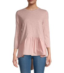 english factory women's high-low hem top - dusty pink - size s
