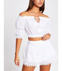 river island womens white embroidered beach shorts