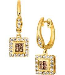 14k honey gold®, chocolate diamonds® & nude diamonds™ drop huggie earrings
