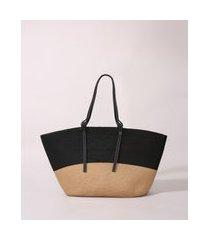 bolsa feminina de palha grande bicolor preta