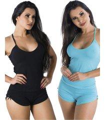 pijama para dormir paris kit 2 - preto - feminino - dafiti
