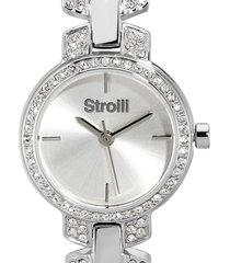 orologio solo tempo con cinturino e cassa in acciaio e strass, quadrante silver per donna