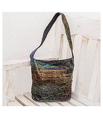 bamboo chenille shoulder bag, 'magic forest' (guatemala)