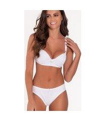 conjunto de lingerie alça larga click chique básico detalhe renda branco