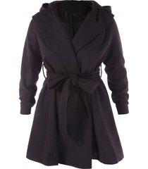 plus size hooded belt wool coat