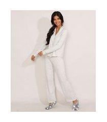 pijama manga longa com vivo contrastante cinza mescla