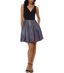 betsy & adam petite v-neck fit & flare dress