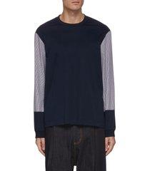 houndstooth print sleeve sweatshirt