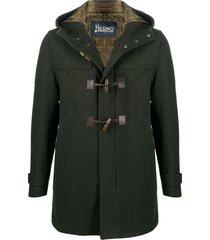 herno hooded virgin wool duffle coat - green