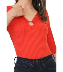 blusa lunender canelada laranja